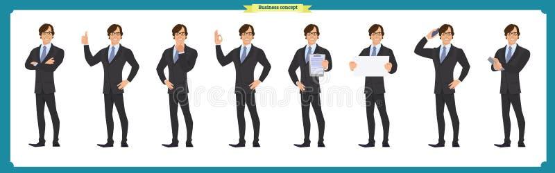 Комплект характера бизнесмена представляет, жесты, действия, элементы тела Изолировано на белизне иллюстрация штока