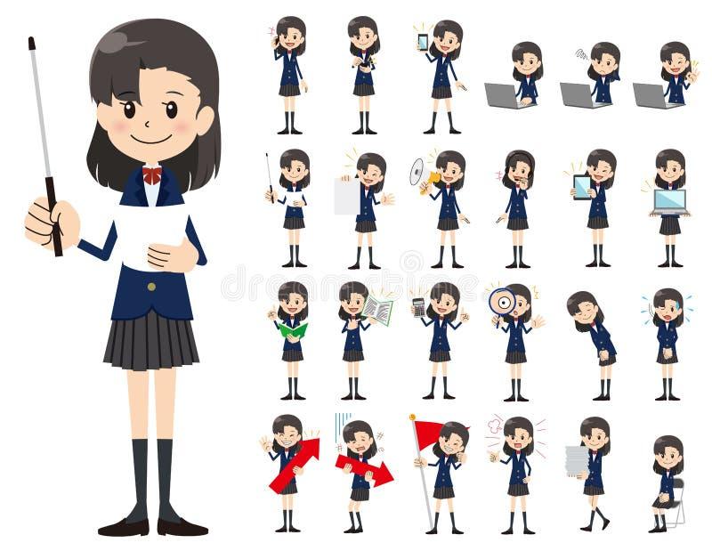 Комплект характера школьницы Представлять в различном действии бесплатная иллюстрация