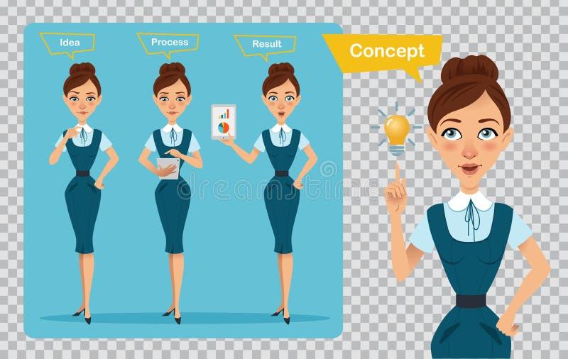 Комплект характеров бизнес-леди представления 3 Женщина имеет идею Иллюстрация на прозрачной предпосылке иллюстрация штока
