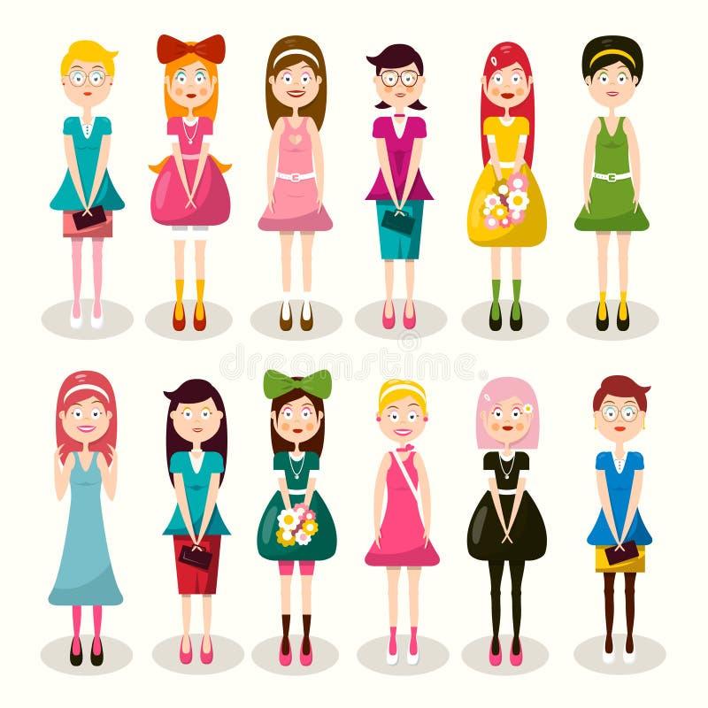 Комплект характеров женщин Дамы дизайна вектора плоские изолированные на светлой предпосылке Значок женщины иллюстрация вектора