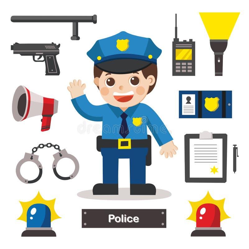Комплект характеров полицейского и значка бесплатная иллюстрация