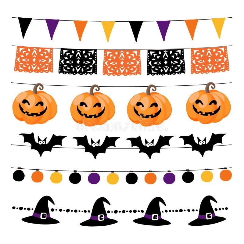 Комплект хеллоуина или Dia de los Muertos, день гирлянд Dea с светами, bunting флагами, тыквами и летучими мышами Сад бесплатная иллюстрация