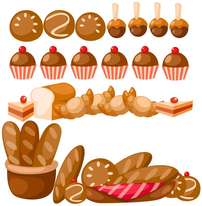 комплект хлеба иллюстрация вектора