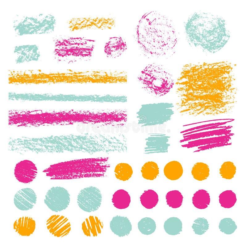 Комплект ходов щетки карандаша или пастели Doodle с crayons иллюстратор иллюстрации руки чертежа угля щетки нарисованный как взгл иллюстрация вектора
