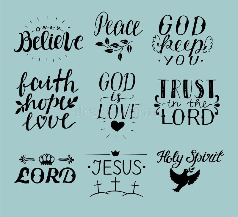 Комплект христианина литерности 9 рук закавычит Иисуса святейший дух Доверьте лорду Мир Только верьте вера упование влюбленность  иллюстрация вектора