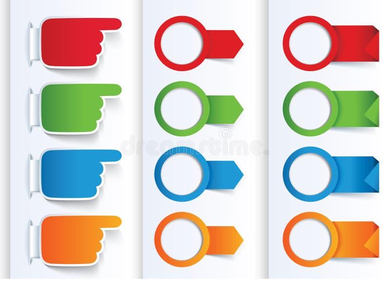 Комплект цветастых знамен стрелок и конструкции. иллюстрация вектора