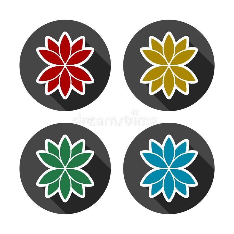 Комплект цветка лотоса иллюстрация вектора