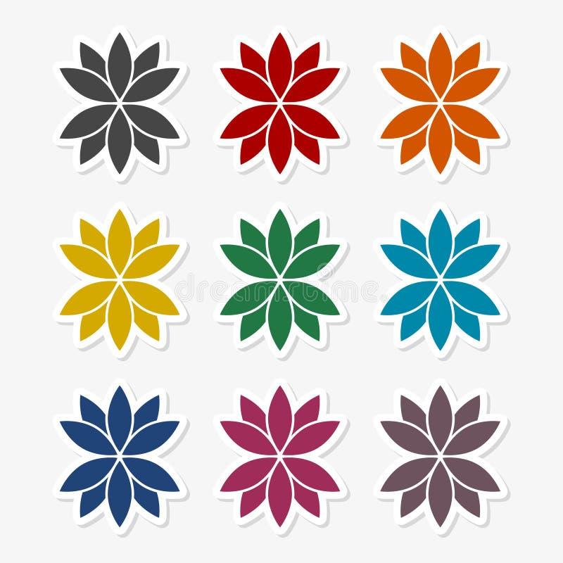 Комплект цветка лотоса иллюстрация штока
