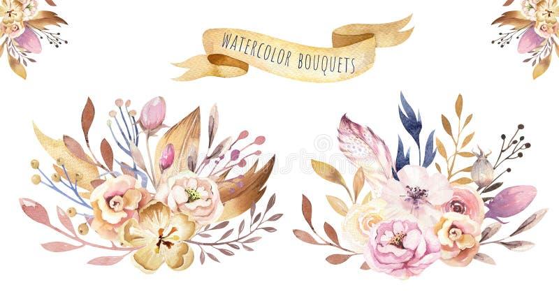 Комплект цветка Boho Красочное флористическое собрание с листьями и цветками, рисуя акварелью Весна или дизайн букета лета иллюстрация штока