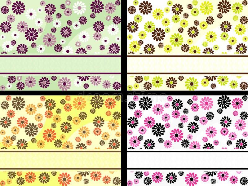 комплект цветков знамен горизонтальный ретро бесплатная иллюстрация
