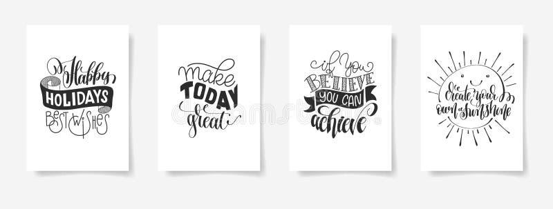 Комплект цитаты 4 плакатов литерности руки положительной бесплатная иллюстрация