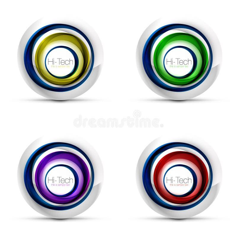 Комплект цифровых сфер techno - знамена, кнопки или значки сети с текстом Лоснистый дизайн круга конспекта цвета свирли, высокий бесплатная иллюстрация