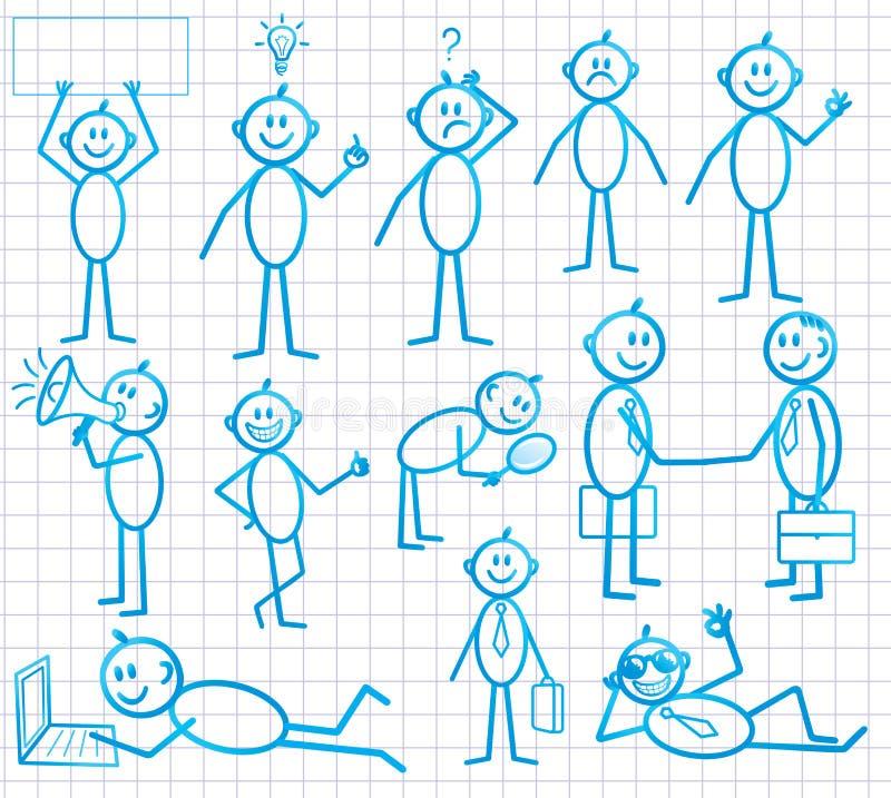 комплект человека шаржа смешной маленький иллюстрация штока