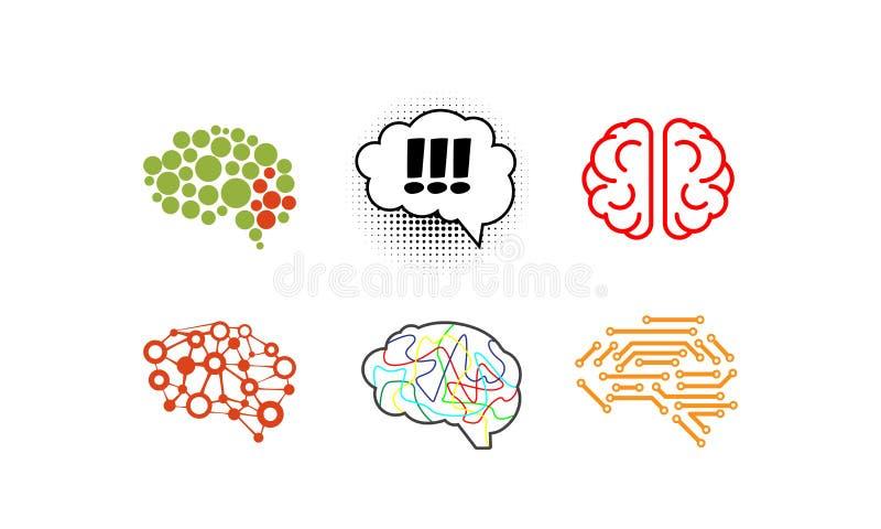 Комплект человеческого мозга, яркие творческие символы идеи vector иллюстрация на белой предпосылке иллюстрация вектора