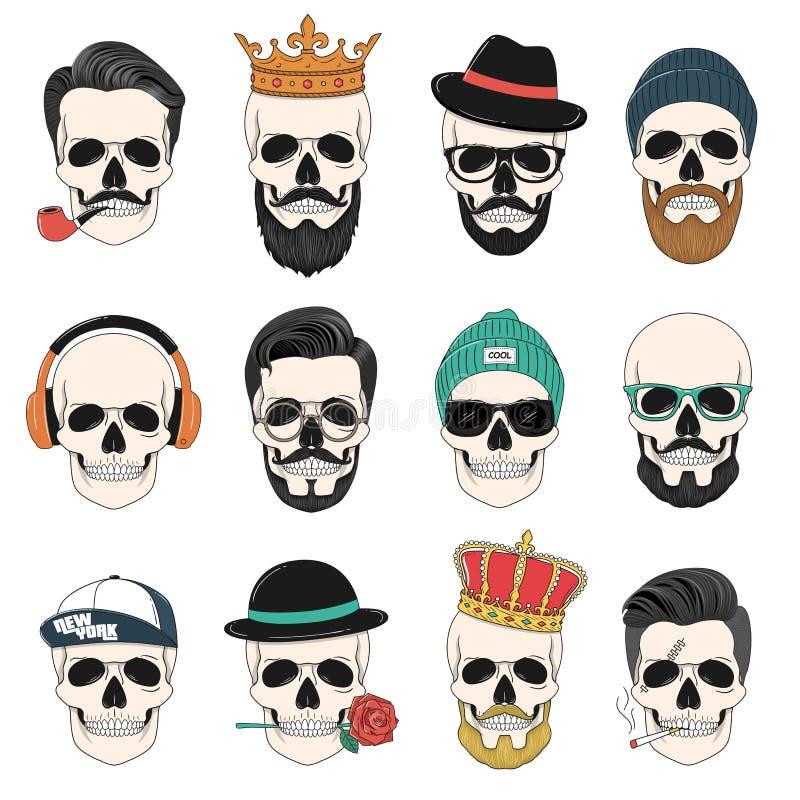Комплект черепов битника с волосами, кронами, шляпами, наушниками, etc бесплатная иллюстрация