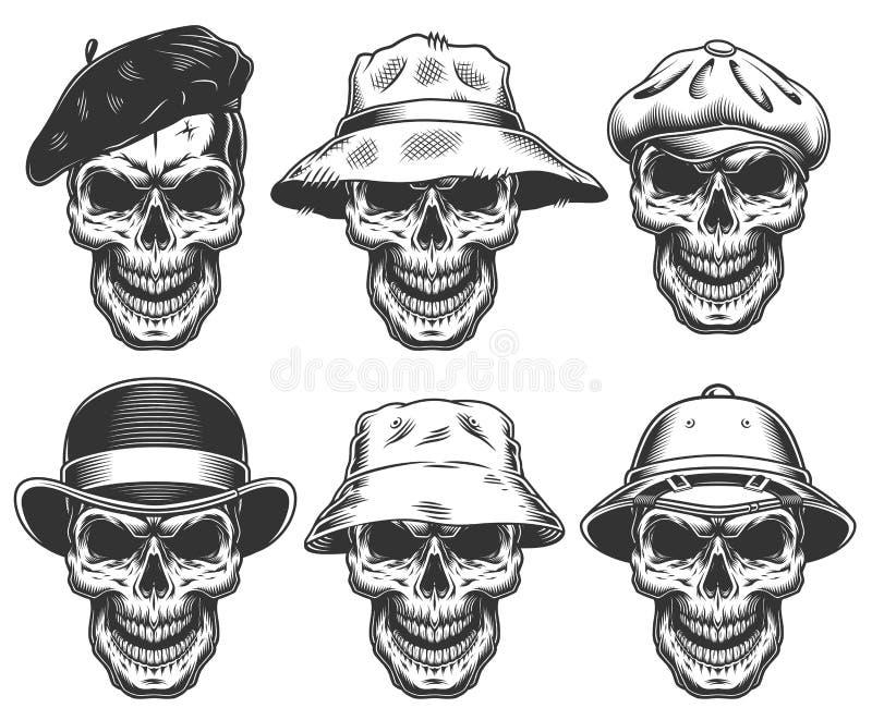 Комплект черепов в шляпах бесплатная иллюстрация