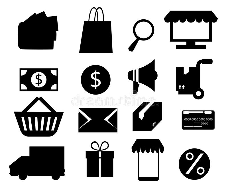 Комплект черного значка для онлайн покупок Иллюстрация вектора изолированная на белой предпосылке Страница вебсайта и передвижной бесплатная иллюстрация