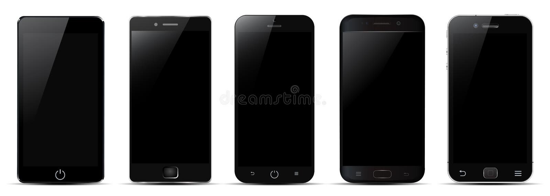 Комплект черного smartphone 5 - вектор иллюстрация вектора