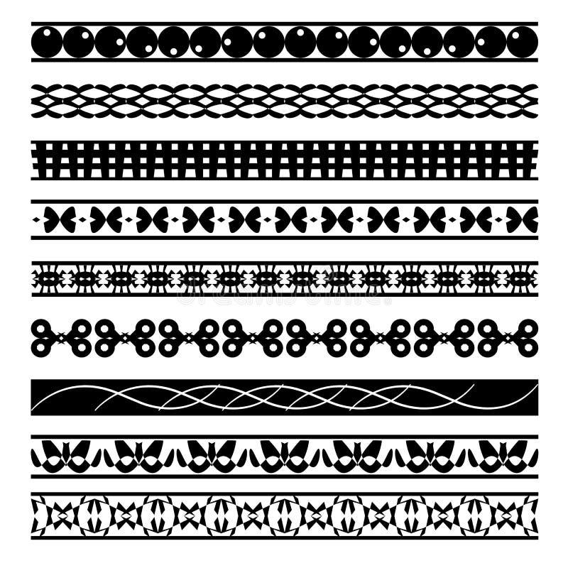 Комплект черно-белых безшовных геометрических форм и границ 04 иллюстрация вектора