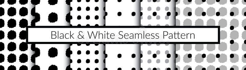 Комплект черно-белых безшовных картин Картины вручную стоковое фото rf