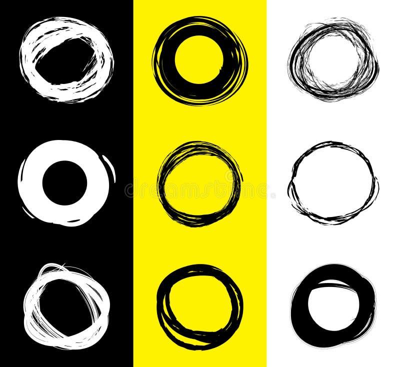 Комплект черно-белых круглых пятен Нарисованные рукой круги Scribble Знамя пятна для текста сеть вектора логоса глобуса иллюстрация вектора