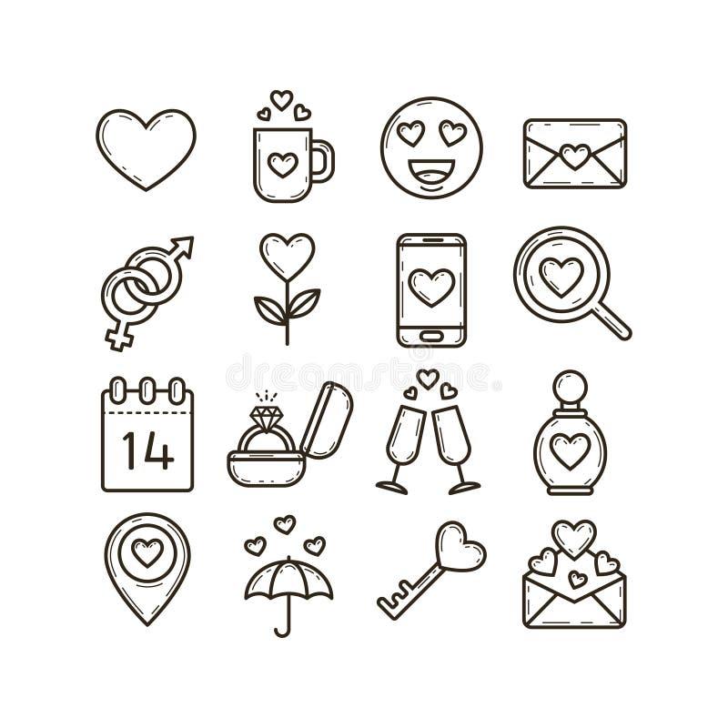 Комплект черно-белых линейных значков на теме дня ` s валентинки иллюстрация штока