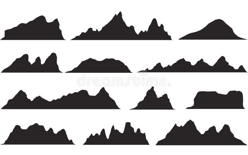 Комплект черно-белых силуэтов горы Граница предпосылки скалистых гор стоковое изображение rf