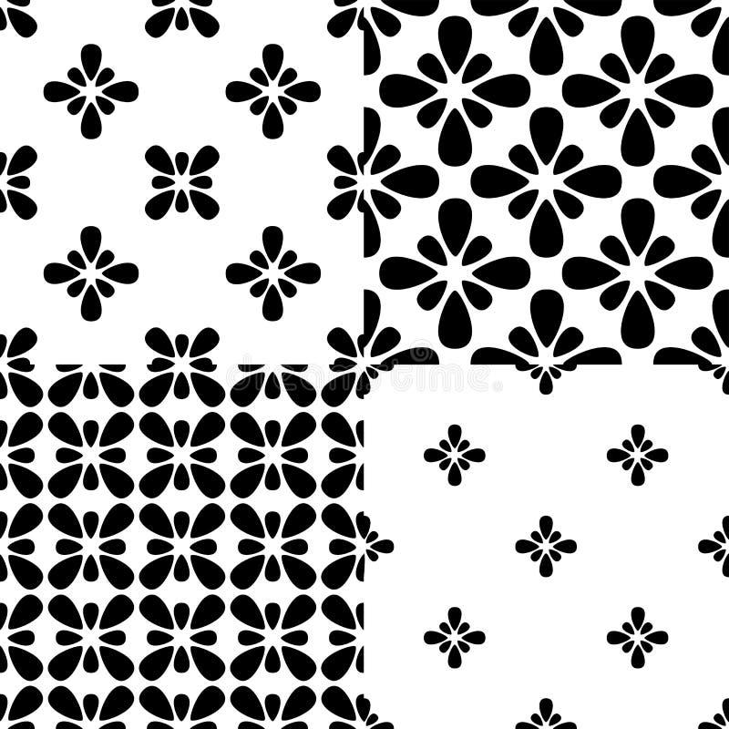 Комплект 4 черно-белых цветочных узоров бесплатная иллюстрация