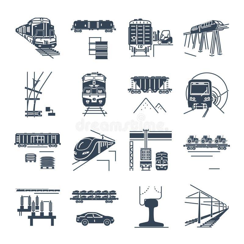 Комплект черных значков перевозки и железнодорожного транспорта пассажирской железной дороги, поезда иллюстрация вектора