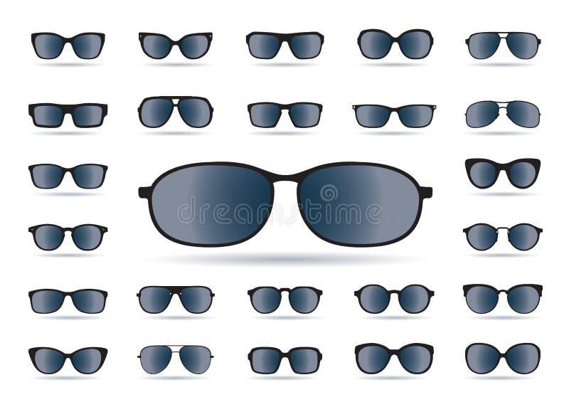 Комплект черных изолированных солнечных очков иконы предпосылки легкие заменяют вектор тени прозрачный иллюстрация вектора