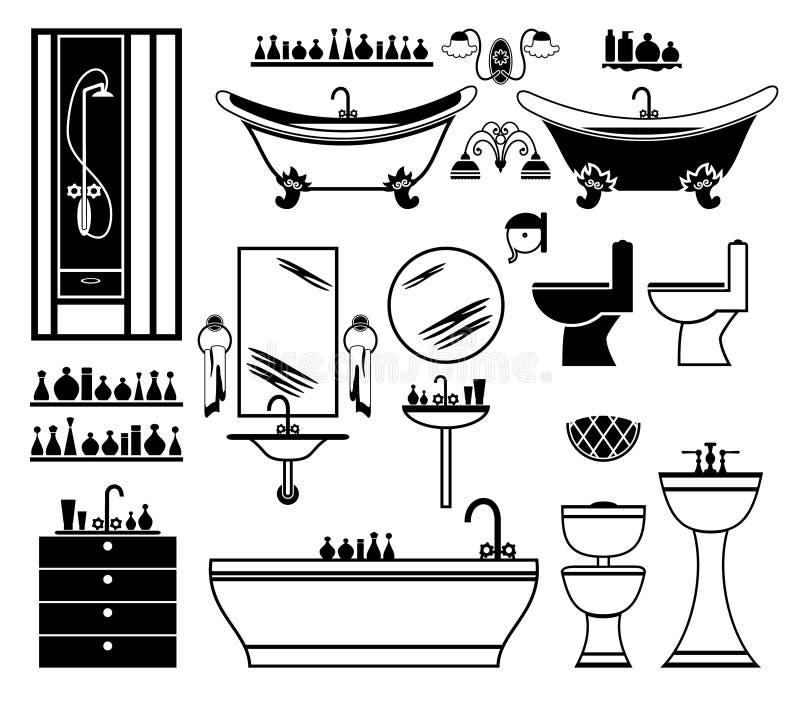 Комплект черных икон ванной комнаты бесплатная иллюстрация