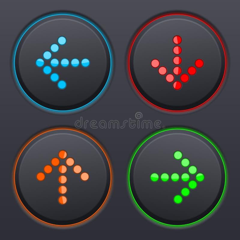 Комплект черных кнопок с покрашенными поставленными точки стрелками иллюстрация штока
