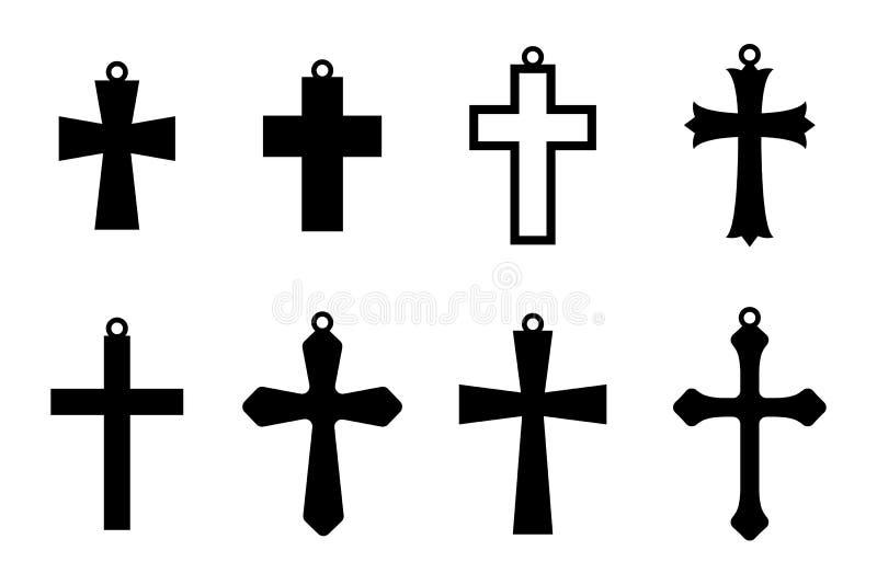 Комплект черных крестов серьги христианский крест Собрание Jewerly шкентель также вектор иллюстрации притяжки corel бесплатная иллюстрация