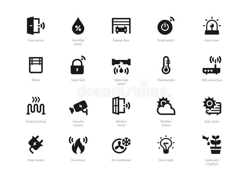Комплект черных твердых умных домашних значков изолированных на светлой предпосылке иллюстрация штока