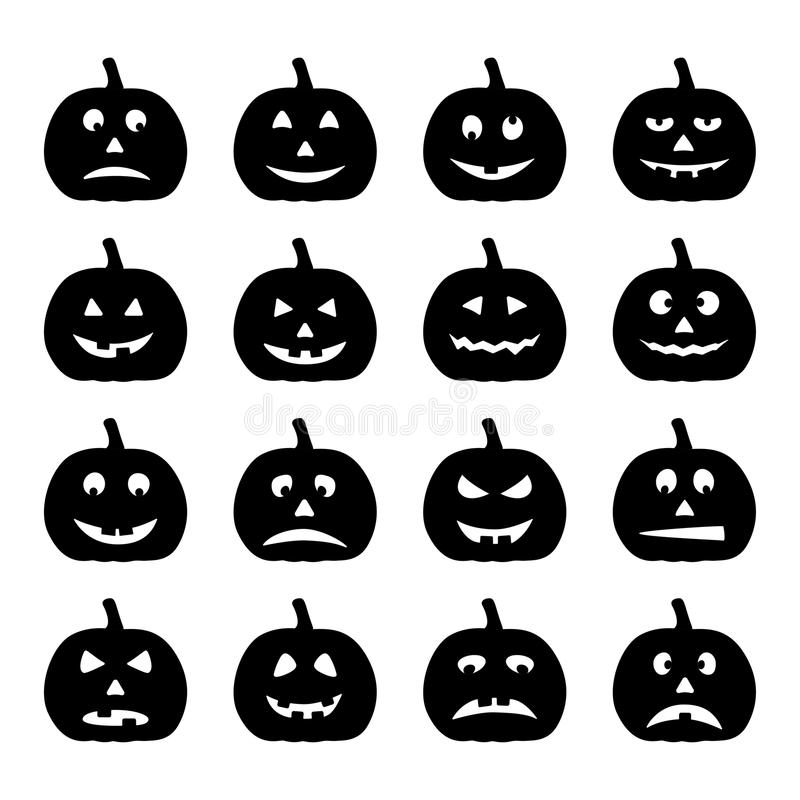Комплект черных тыкв хеллоуина, иллюстрация вектора стоковое изображение rf
