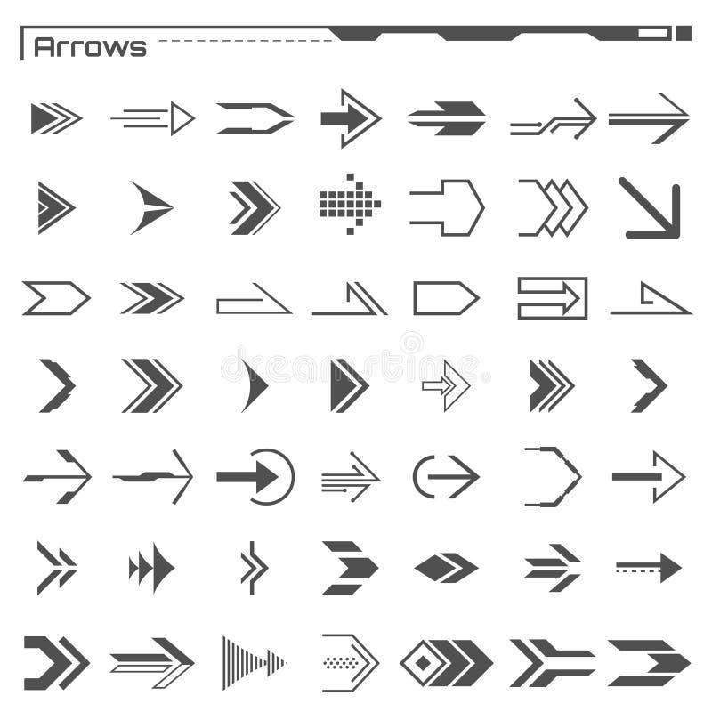 Комплект черных элементов стрелок hud Футуристический пользовательский интерфейс Виртуальный график элементы infographic Приборна иллюстрация вектора