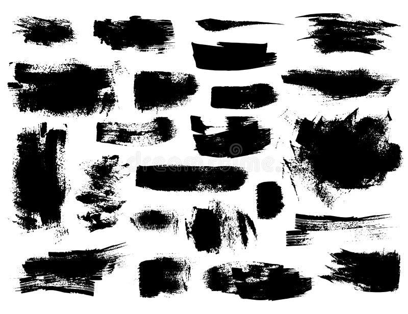 Комплект черных brushstrokes иллюстрация штока
