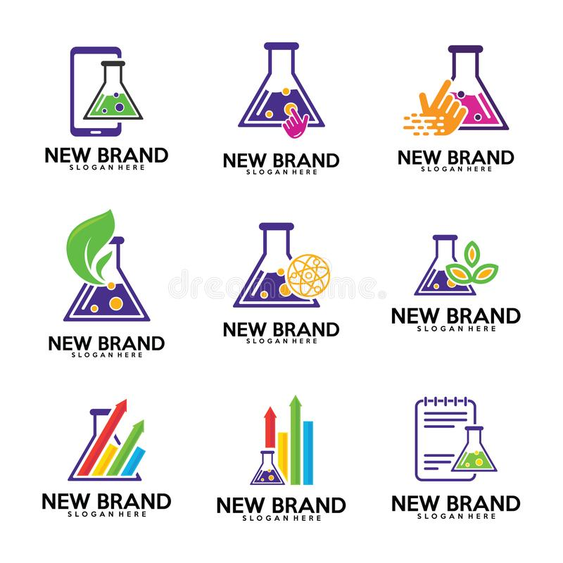 Комплект шаблона логотипа химических лабораторий, лабораторий биологии, лист, stats, финансов, примечания, значка касания, телефо иллюстрация вектора