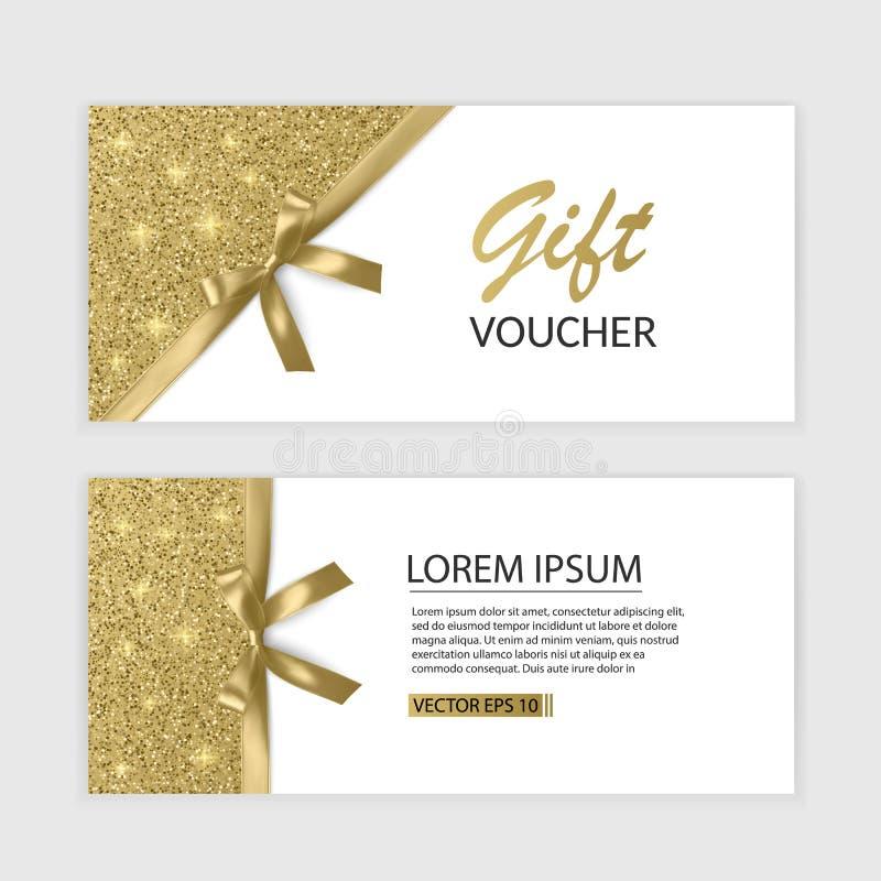 Комплект шаблона, рекламы или продажи карточки подарочного сертификата шаблон с текстурой яркого блеска и реалистической иллюстра иллюстрация штока