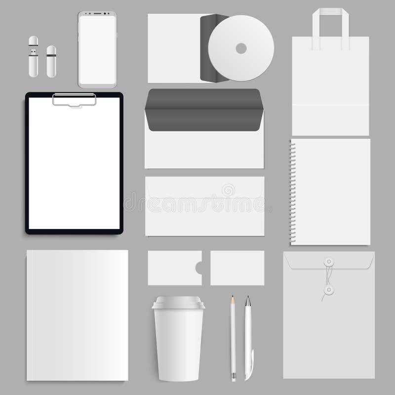 Комплект шаблона фирменного стиля Модель-макет канцелярских принадлежностей дела с логотипом вектор иллюстрация вектора