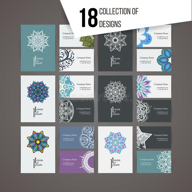 Комплект шаблонов дизайна вектора Визитная карточка с флористическими элементами орнамента и doodle круга Стиль мандалы иллюстрация вектора
