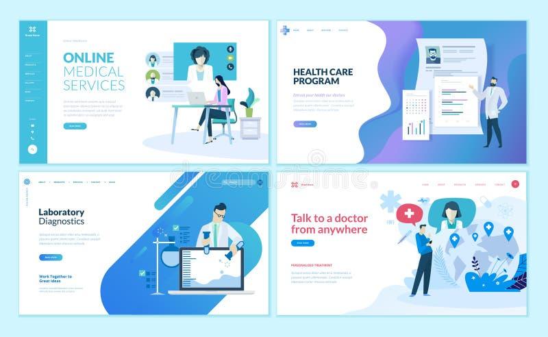 Комплект шаблонов дизайна интернет-страницы для онлайн медицинского обеспечения, здравоохранения, лаборатории, медицинских обслуж бесплатная иллюстрация