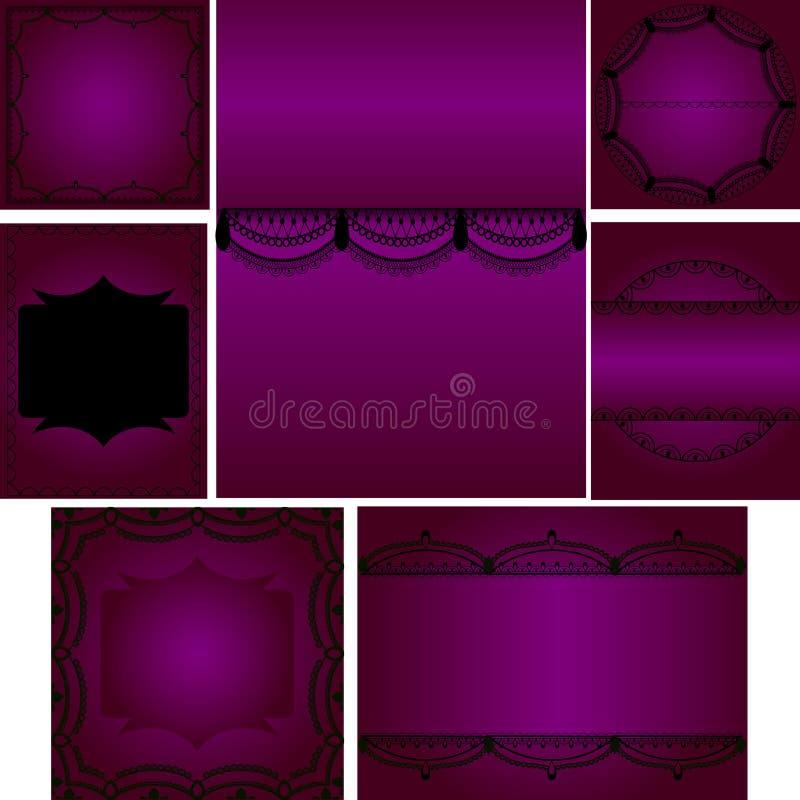 Комплект шаблонов для карточек, свадьба, приглашения дня рождения с lac стоковое фото rf