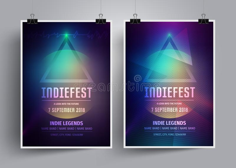 Комплект шаблонов или рогулек плаката модель-макета для indie рок-концерта Приглашение к музыкальному фестивалю, партия ночи иллюстрация штока