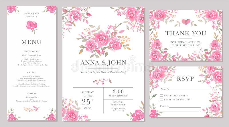 Комплект шаблонов карточки приглашения свадьбы с цветками акварели розовыми иллюстрация вектора