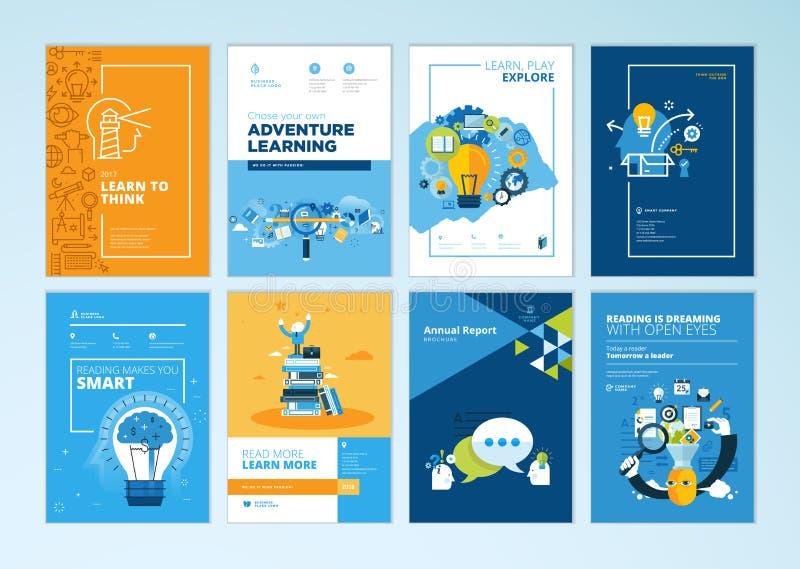 Комплект шаблонов на предмете образования, школы дизайна брошюры, онлайн учить иллюстрация штока