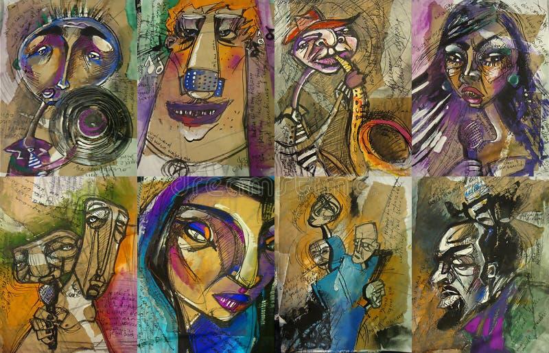 Комплект шаблонов плаката, рогульки или приглашения для целесообразных фестиваля, события или концерта джазовой музыки с мюзикл иллюстрация штока