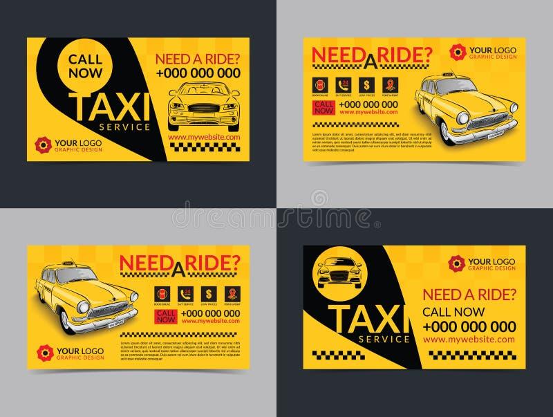 Комплект шаблонов плана визитных карточек предприятия сферы обслуживания такси Создайте ваши собственные визитные карточки иллюстрация вектора