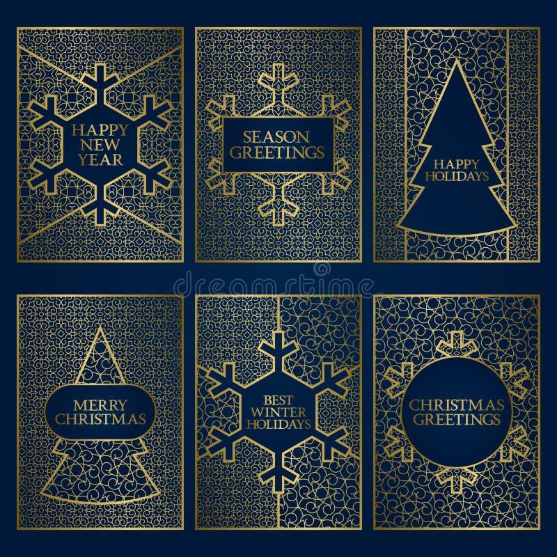 Комплект шаблонов поздравительных открыток сезона зимы Золотые дизайн рамок на Новый Год и с Рождеством Христовым иллюстрация вектора