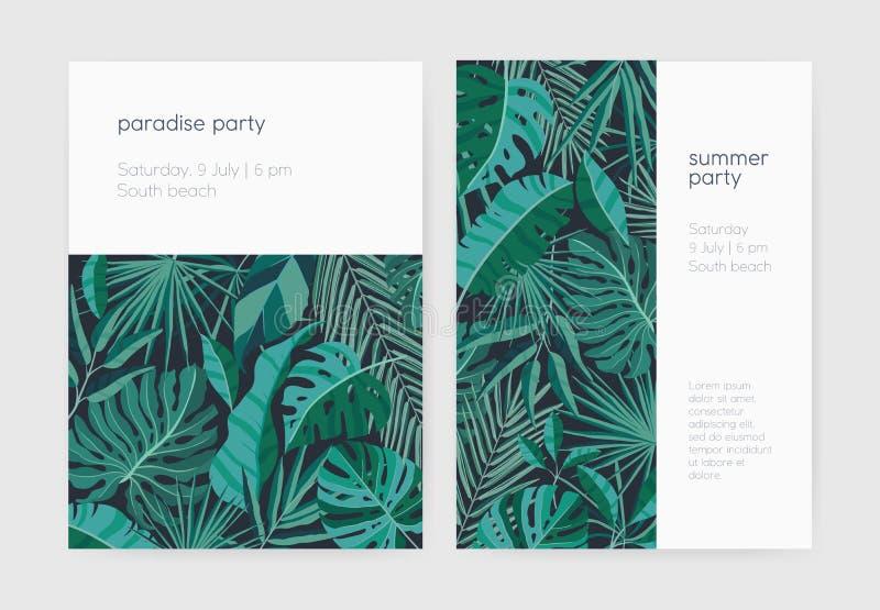 Комплект шаблонов приглашения или плаката партии лета с сочной тропической вегетацией, экзотическими листьями или листвой джунгле иллюстрация вектора